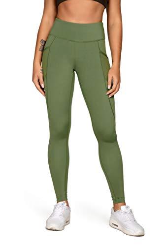 Queenieke, leggings da donna con trama a rete Power Flex, 3 tasche per telefono, vita media, ideali in palestra, per correre e per lo yoga Verde militare S