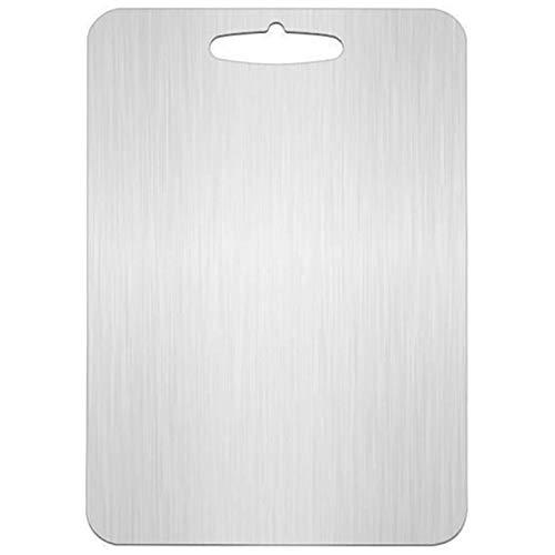 HWNGDI 304 Tabla de cortar de acero inoxidable Tablero de corte Tablero de fruta de doble panel 20x30 cm Colección conveniente (Color : Silver)