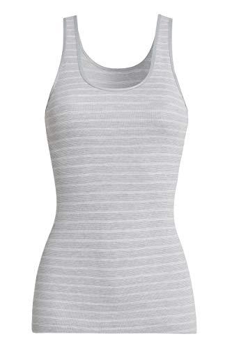 con-ta Thermo Achselhemd, wärmeisolierendes Trägertop aus natürlicher Baumwolle, bequemes Basic-Shirt, Damenbekleidung, Sterling Geringelt, Größe: 44