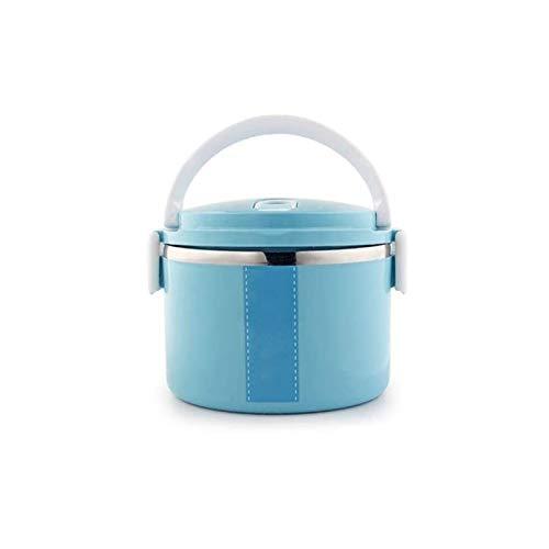 JDJD Frasco de Comida Termo Portátil Caja Almuerzo del Envase Alimento Bento Box El Acero Inoxidable Aisló Caja Almuerzo For Microondas Envase con Bolsa Alimentos Frascos (Color : Blue 1 Layer)