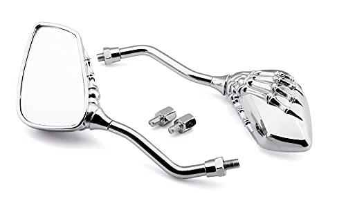 gzcfesbn 2 unids Universal Motorcycle Retroview Espejo con scooter de aleación de aluminio Scooter de aleación de esqueleto Revestimiento de moto Espejos laterales adecuados para la mayoría de las mot