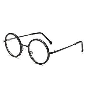 [FREESE] 丸メガネ 伊達メガネ 超軽量 デザイナーズ ファッション 伊達眼鏡 ラウンド 透明レンズ メンズ 【福岡発のアイウェアブランド FREESE】(ブラック)