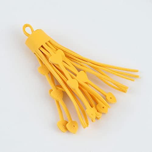 6pcs / lot 75mm colore misto nappe in ecopelle fai da te accessori portachiavi stella cava grandi nappe frangia gioielli di moda unici-cuore giallo