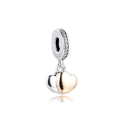 Pandora 925 colgantes de plata esterlina Diy CKK Fit pulseras K oro real encantos de doble corazón cuentas originales para hacer joyas