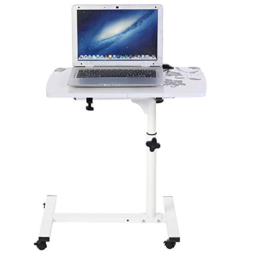 Wakects - Mesa de ordenador con ruedas portátil ajustable en altura, mesa giratoria de cama, sofá altura ajustable, mesa auxiliar, 4 ruedas, color blanco
