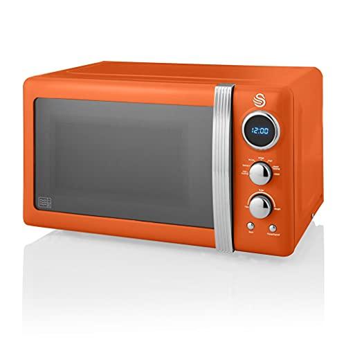 Swan Retro Digital Microwave Orange, 20 L, 800 W, 6 Power Levels Including Defrost Setting, SM22030ON
