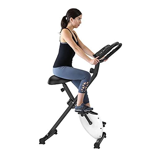 WIUANG Bicicleta de spinning ajustable para interior, plegable, 120 kg, estable, con pantalla LCD y pulsómetro para uso en casa y en el gimnasio (color blanco)