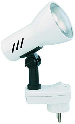 Briloner Leuchten Steckerlampe, Steckerspot E14, Leselampe 25W, dreh-und schwenkbar, weiß, Metall, 25 W