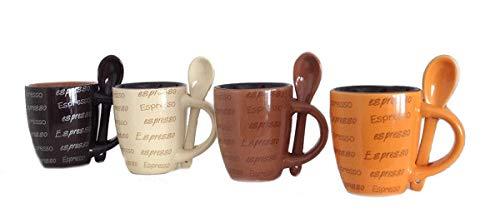 dekoandmore24 Espressotassen 8tlg. Set mit 4 Tassen und passendem Löffel
