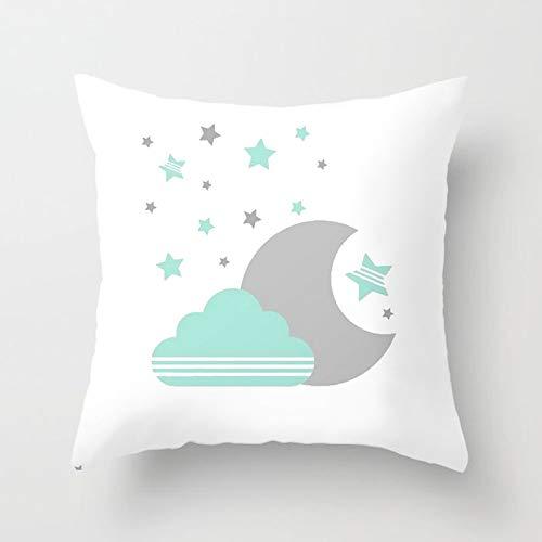 PPMP INS Funda de cojín nórdico de Dibujos Animados Cloud Moon Star Throw Funda de Almohada Sofá Decoración Funda de Almohada Decoración del hogar Funda de cojín A9 45x45cm 1pc