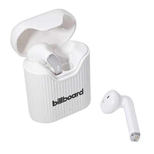 Billboard Bluetooth 5.0 True Wireless Stereo Earbuds with Charging Case, White/Gray (BB2808)
