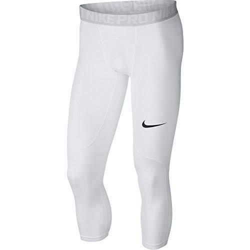 Nike Men's Pro 3qt Tight (White/Pure Platinum/Black, Large)