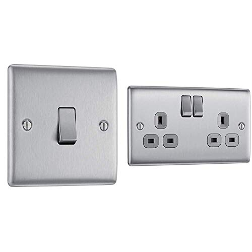 BG Electrical Single Light Switch, Brushed Steel, 2-Way, 10AX & Double Switched Power Socket, Brushed Steel, 13 Amp