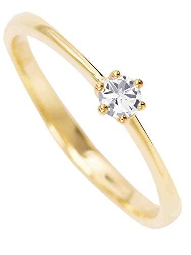 MyGold Verlobungsring Gelbgold (14 Karat) Gold 585 Mit Zirkonia Solitär Gr. 46 Heiratsantrag Damenring Goldring R-07010-G401-CZC-W46
