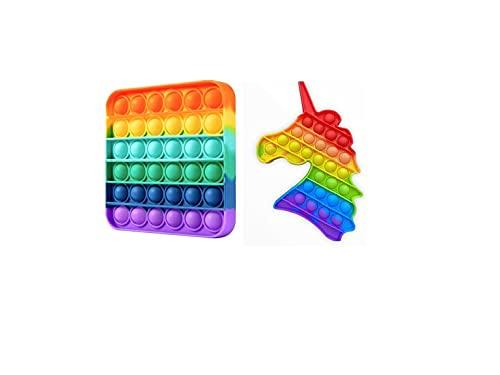 RSL Little Heroes Pop it Juguete Antiestrés Sensorial de Explotar Burbujas Push Bubble Fidget Toy Herramientas para aliviar el estrés y la ansiedad para niños y Adultos (Square+Unicornio Multi)
