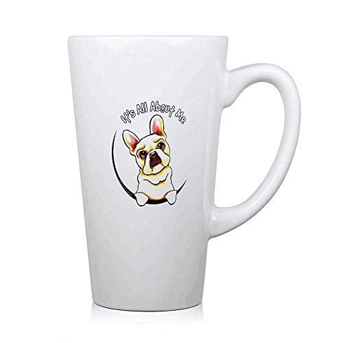 Fawn Frenchie IAAM - Funny Cup - Novelty Birthday Gifts - Gag Large Tea Cup - White 16OZ Ceramic Coffee Mug - Large Porcelain Mug for Coffee