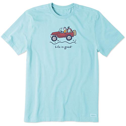 Life is Good Men's Vintage Crusher Graphic T-Shirt, Off-Road Jake, Beach Blue, Large