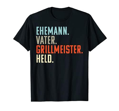 Herren Ehemann Vater Grillmeister Held | Vatertags Geschenkidee T-Shirt