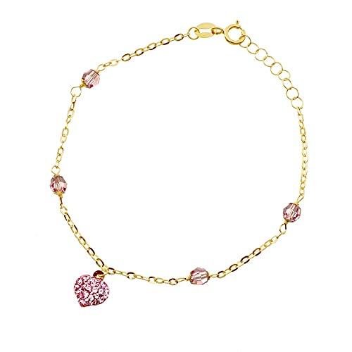 Gimar - Pulsera de oro amarillo 750 para niña con corazón de pavé de cristales rosa, 17 cm ajustable | Pulsera de niña de alta calidad | Certificado de garantía y autenticidad