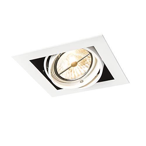 QAZQA Design/Modern Weißer quatratischer Einbaustrahler, schwenkbar 1-flammig - Oneon 111-1 / Innenbeleuchtung/Wohnzimmerlampe/Schlafzimmer/Küche Stahl Quadratisch LED geeignet G53 Max. 1 x 50