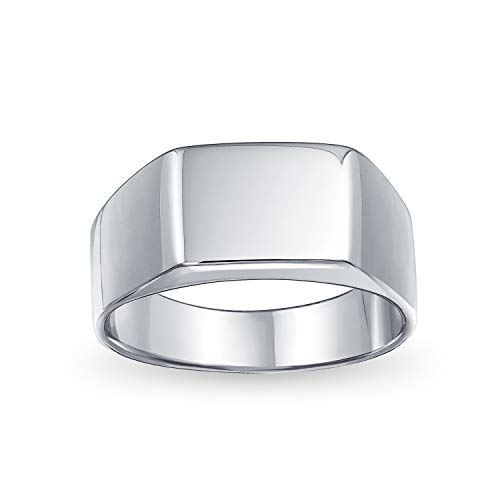 Geometric Customize Engrave Simple Wide Rectangle Initial Monogram Signet Ring For Men 925 Sterling Silver Shinny Finish
