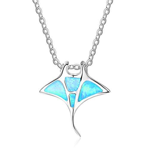 QSSQ Mujer Ballena Colgante Collar Bohemio Azul Fuego Imitación Ópalo Colgante Púrpura Medusas Collar Animal