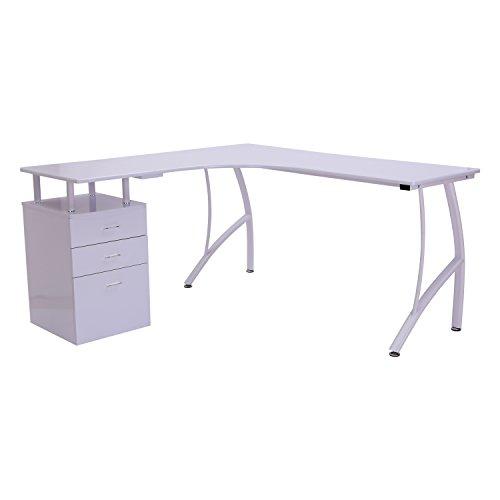 HOMCOM Mesa de PC Mesa de Ordenador Escritorio de Oficina Mesa con Cajonera para Hogar Escuela y Oficina 151.5x143.5x76cm Madera Blanco 🔥