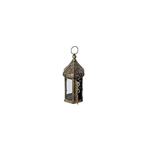AC-Déco Lanterne hexagone Dorée- Met - D 18 x H 40 cm - Verre et Fer