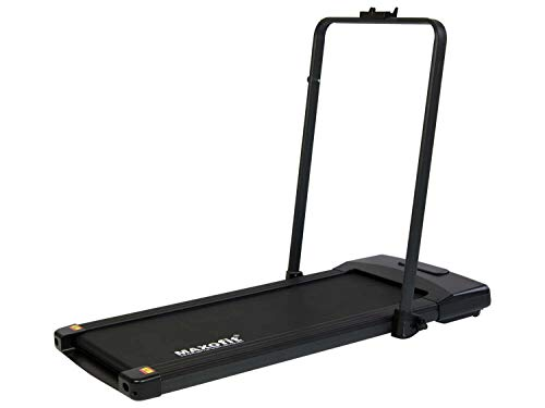 MAXOfit Mini Laufband MF-27 in schwarz mit klappbarem Haltegriff | perfekt für Zuhause und Büro | platzsparend und elektrisch mit Fernbedienung