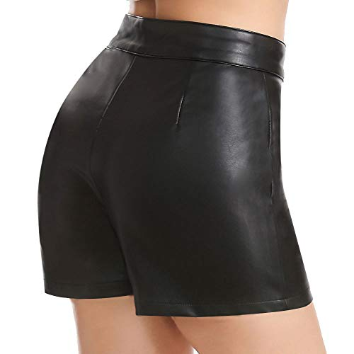 Everbellus Shorts de cuero PU para mujer, de cintura alta, negro