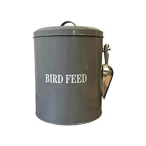 Selections Wild Bird Feed Storage Tin in French Grey with Aluminium Food Scoop