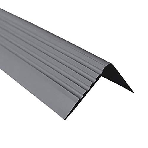 Treppenkantenprofil Selbstklebend PVC Kunststoff Antirutsch-Profil Winkelprofil 50x42, dunkelgrau, 100cm