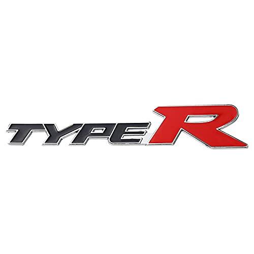 Emblema De Repuesto Etiqueta engomada de metal cromado de coche Typer Styling Reembolsar Tronco Logotipo Tipo R Emblema Pegatina Compatible con Honda Civic CR-V Acceder Fit Etiqueta del emblema