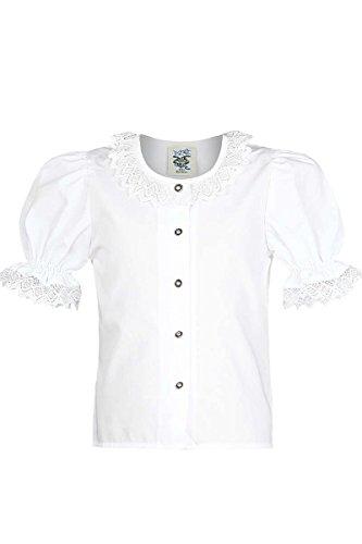 Isar-Trachten Mädchen Mädchen Trachten-Bluse mit Spitze Weiss, WEIß, 140