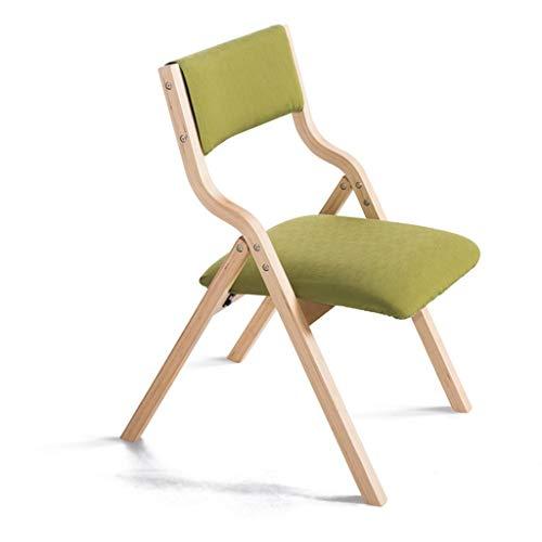 Furniture Stol/klapstoel van hout met rugleuning, kan voor leren, kantoor, eetstoel, kinder-make-up voor thuis en op kantoor, groen