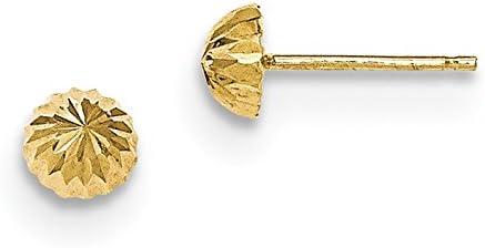 14k Yellow Gold Diamond-cut 5mm Domed Post Earrings