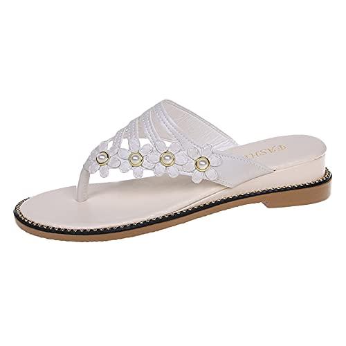 Scarpe col Tacco Donna Moda Sandali con Zeppa Plateau Wedge High Heels (White,39.5)