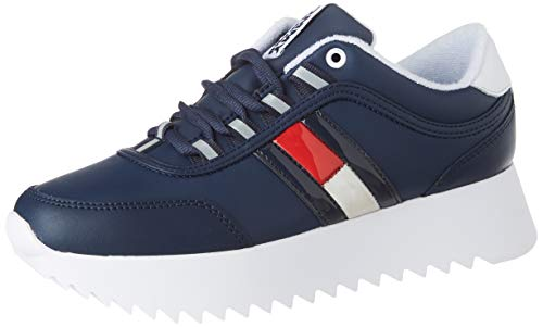 Tommy Hilfiger High Cleated Flag Sneaker, Zapatillas para Mujer, Azul (Twilight Navy C87), 38 EU