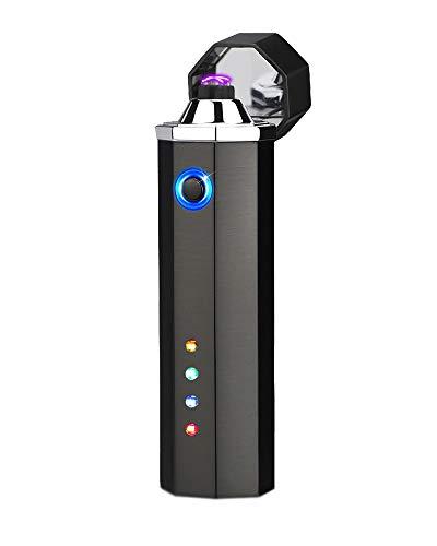 [WDMART] 電子ライター USBライター 充電ライター メタルライター 葉巻ライター 艾灸 艾条 ライター プラズマ放電式 防風 軽量 残りのバッテリーを示すLED 誕生日プレゼント (ブラック)