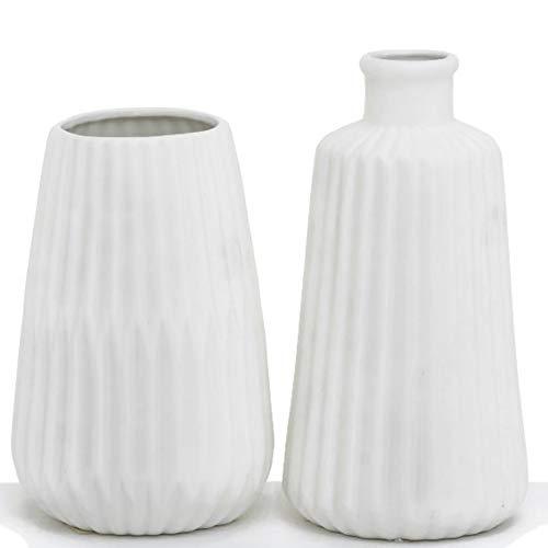 MAIKAI 2er Set Vase Weiß Matt Klein H. ca. 17 cm Dekovase Porzellan Modern Deko Tisch Fensterbank Regal Elegant Stilvolle Minivase