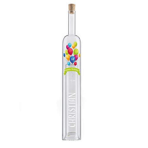 Hohlraumflasche Geburtstag (Luftballons, ohne Holzverpackung): Edelglasflasche mit Gravur, mit Name, Datum & Alter personalisiert - Flasche mit zweitem Hohlraum, Geldgeschenk