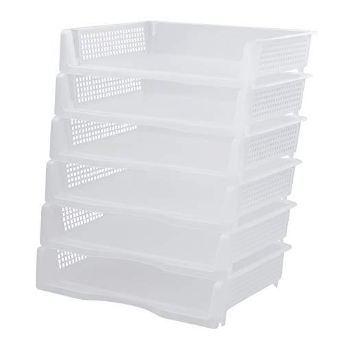 Zerdyne Bandeja de papel apilable de plástico transparente, paquete de 6, cesta de almacenamiento de cartas