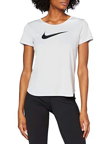 Nike Damen Kurzarm-laufoberteil Swoosh Run, Grey Fog/Reflective Silver/Black, XL, CU3237-097