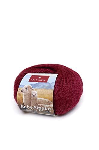 APU KUNTUR 100% Baby-Alpaka Wolle | Strick-Häkel-Garn weich, warm und kratzfrei | einzelnes Knäuel | 100m, Nadel 4 | wunderschöne Farben zum angenehmen Stricken und häkeln | Wein-rot