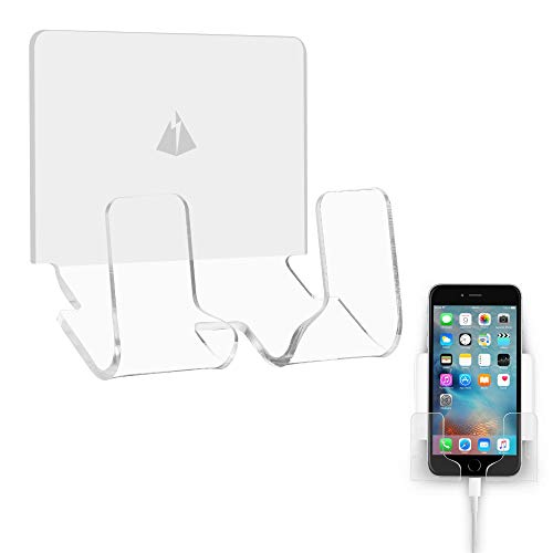 TXesign Adhesive Wall Phone Holder Mount for Smartphones iPhone External Battery Wall Holder Mount (Silky White & Transparent)