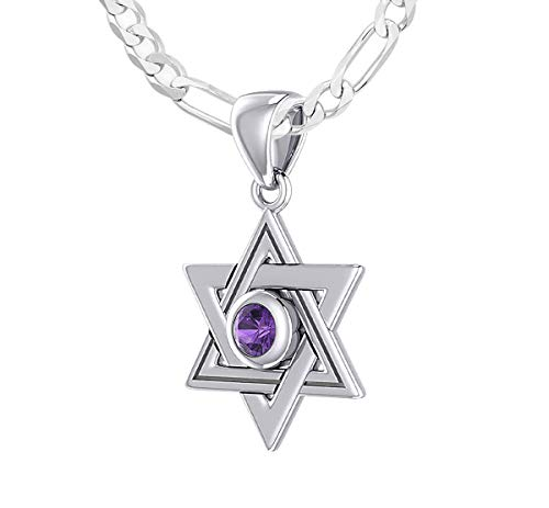 US Jewels And Gems Ladies 925 Sterling Silver 0.625in Simluated Amethyst Jewish Star of David Pendant 2.3mm Figaro Necklace, 24\u0026quot;