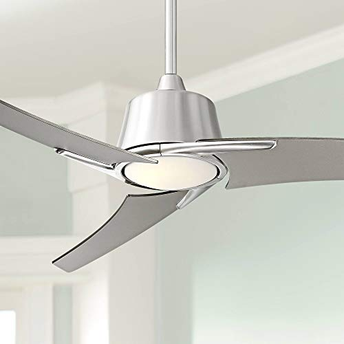 """48"""" Matrix Modern Ceiling Fan with Light LED Dimmable Remote Control Brushed Nickel Frosted White Glass for Living Room Kitchen Bedroom Dining - Casa Vieja"""