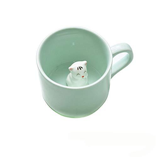 Kaffee-Milch-Tee-Keramik-Becher - 3D Tier-Morgen-Schale beste Geschenk Für Morgengetränk und Hochzeiten, Geburtstage, Vatertag BigNoseDeer (Katze)