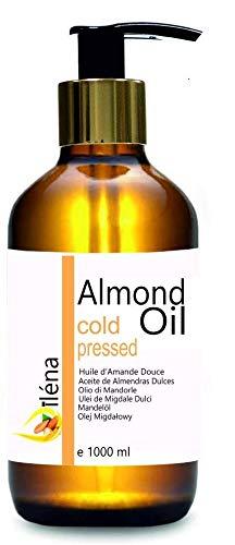 Aceite de Almendras Dulces Oïléna. 1 Litro. Aceite 100% Puro y Natural. Ideal para masajes. 1000 ml