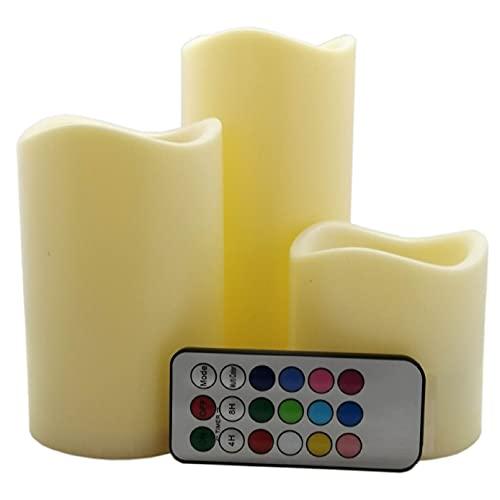 CHIC-FANTASY Velas LED parpadeantes, con control remoto, color marfil, mecha de LED velas luces de colores cálidos y fríos decoración del hogar, Juego de 3 piezas